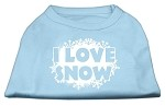 I Love Snow Screenprint Shirts Baby Blue XS