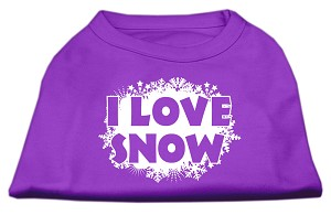 I Love Snow Screenprint Shirts Purple L
