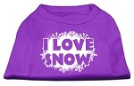 I Love Snow Screenprint Shirts Purple XS