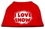 I Love Snow Screenprint Shirts Red XS