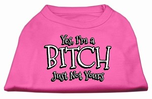 Yes Im a Bitch Just not Yours Screen Print Shirt Bright Pink XL (16)