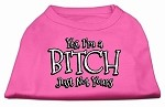 Yes Im a Bitch Just not Yours Screen Print Shirt Bright Pink XS (8)