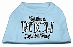 Yes Im a Bitch Just not Yours Screen Print Shirt Baby Blue XS (8)