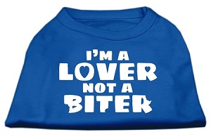 I'm a Lover not a Biter Screen Printed Dog Shirt Blue Lg (14)