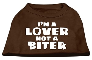 I'm a Lover not a Biter Screen Printed Dog Shirt Brown Med (12)