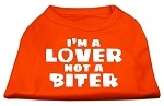 I'm a Lover not a Biter Screen Printed Dog Shirt Orange Sm (10)