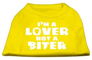 I'm a Lover not a Biter Screen Printed Dog Shirt Yellow XS