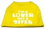 I'm a Lover not a Biter Screen Printed Dog Shirt Yellow XS (8)