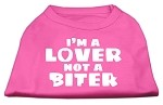 I'm a Lover not a Biter Screen Printed Dog Shirt Bright Pink XS (8)