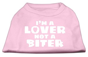 I'm a Lover not a Biter Screen Printed Dog Shirt Light Pink Sm (10)
