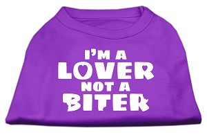 I'm a Lover not a Biter Screen Printed Dog Shirt Purple Med (12)