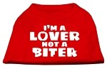 I'm a Lover not a Biter Screen Printed Dog Shirt Red XS (8)