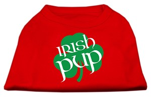 Irish Pup Screen Print Shirt Red Med (12)