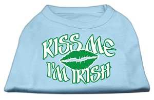 Kiss Me I'm Irish Screen Print Shirt Baby Blue XXL (18)