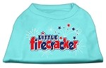 Little Firecracker Screen Print Shirts Aqua XS