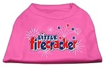 Little Firecracker Screen Print Shirts Bright Pink XS
