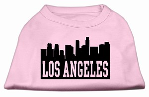Los Angeles Skyline Screen Print Shirt Light Pink XS (8)