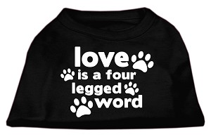 Love is a Four Leg Word Screen Print Shirt Black Lg (14)