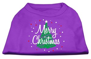 Scribbled Merry Christmas Screenprint Shirts Purple XS (8)