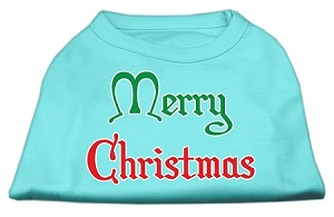 Merry Christmas Screen Print Shirt Aqua Lg (14)