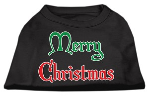 Merry Christmas Screen Print Shirt Black Lg (14)