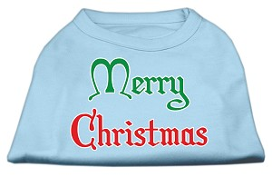 Merry Christmas Screen Print Shirt Baby Blue XXXL