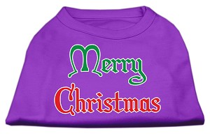 Merry Christmas Screen Print Shirt Purple XS (8)
