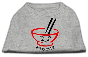Miso Cute Screen Print Shirts Grey Sm