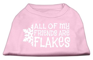All my friends are Flakes Screen Print Shirt Light Pink S (10)