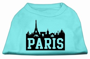 Paris Skyline Screen Print Shirt Aqua XXL (18)