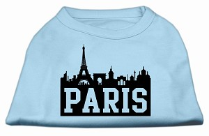 Paris Skyline Screen Print Shirt Baby Blue XL (16)