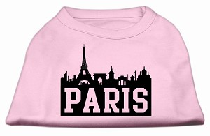 Paris Skyline Screen Print Shirt Light Pink Lg (14)