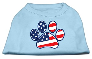 Patriotic Paw Screen Print Shirts Baby Blue L (14)