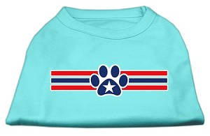 Patriotic Star Paw Screen Print Shirts Aqua M (12)