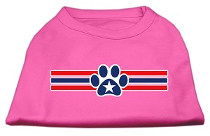 Patriotic Star Paw Screen Print Shirts Bright Pink S