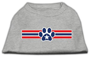 Patriotic Star Paw Screen Print Shirts Grey XS (8)