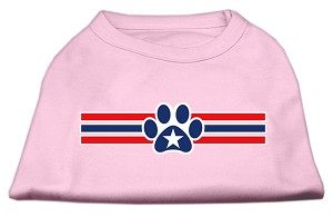 Patriotic Star Paw Screen Print Shirts Light Pink L (14)