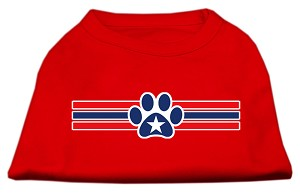 Patriotic Star Paw Screen Print Shirts Red L (14)