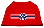 Patriotic Star Paw Screen Print Shirts Red XS