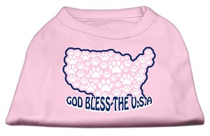 God Bless USA Screen Print Shirts Light Pink L (14)