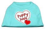 Puppy Love Screen Print Shirt Aqua XS