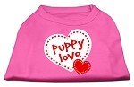 Puppy Love Screen Print Shirt Bright Pink XS