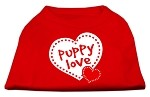 Puppy Love Screen Print Shirt Red XS