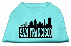 San Francisco Skyline Screen Print Shirt Aqua Lg (14)