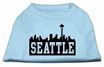 Seattle Skyline Screen Print Shirt Baby Blue XS (8)
