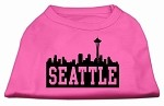 Seattle Skyline Screen Print Shirt Bright Pink XS (8)