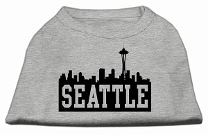 Seattle Skyline Screen Print Shirt Grey Med (12)