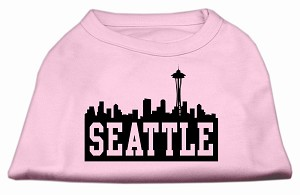 Seattle Skyline Screen Print Shirt Light Pink Sm (10)