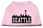 Seattle Skyline Screen Print Shirt Light Pink XS (8)