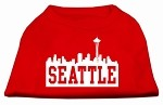 Seattle Skyline Screen Print Shirt Red XS (8)